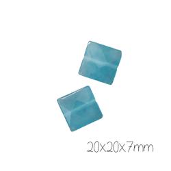 2 perles palet carré de jade bleue 20x20x7mm