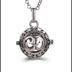 Cage à bola rond OHM en métal argenté 33x25mm