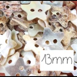 10 boutons étoile en nacre véritable 13mm