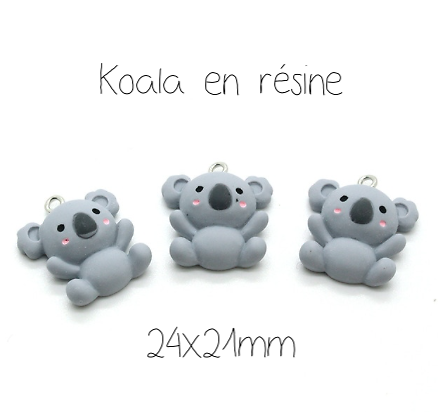 Breloque koala tout mignon en résine 24x21mm