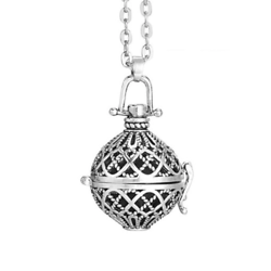 Cage à bola ronde quadrillage en métal argenté 38x29mm