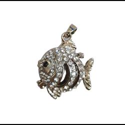 Cage à bola poisson métal argenté et strass 37x26mm