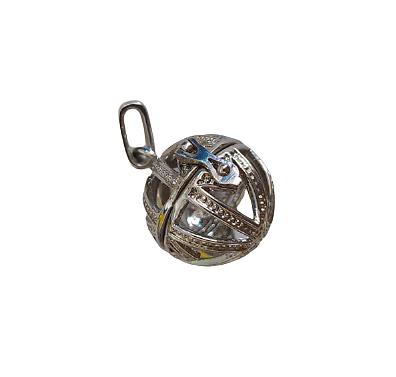 Cage à bola ronde et finement décorée en métal argenté 31x24mm