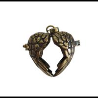 Cage à bola coeur ailé en métal couleur bronze 34x29mm