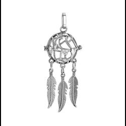 Cage à bola ronde à entrelacs cordage et plumes pendantes en métal argenté 63x24mm
