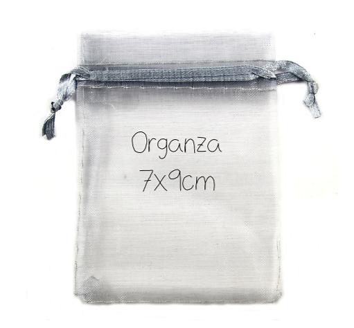 Sachets / emballage cadeau en organza argenté 7x9cm
