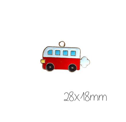 Breloque autobus rouge et blanc émaillé et métal doré 28x18mm