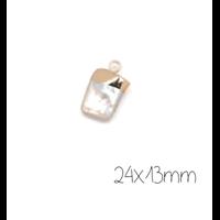 Breloque/pendentif en perle d'eau douce naturelle rectangulaire et serti doré 24x13mm