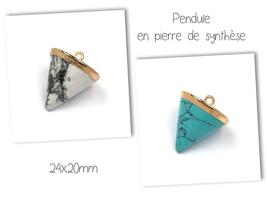 Breloque / pendentif pendule en pierre de synthèse et serti doré 24x20mm