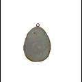 Grand pendentif en amazonite et serti doré 56x40x6mm