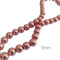 10 perles rondes d'hématite roses miroir 8mm