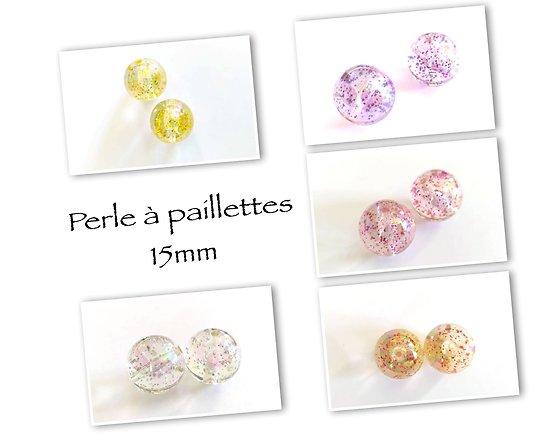 2 grosses perles rondes en acrylique à paillettes 15mm