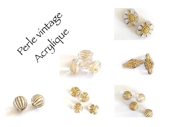 2 perles vintage en acrylique et finition dorée