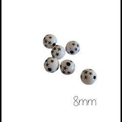 10 perles rondes blanches et étoiles noires en acrylique 8mm