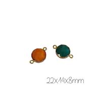 Connecteur rond en agate et serti doré 22x14x8mm