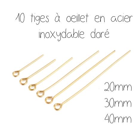 10 tiges à oeillet en acier inoxydable doré 316L 20/30/40mm