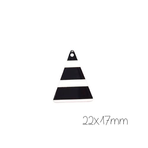 Breloque triangle à rayures noires/blanches en résine 17x22mm