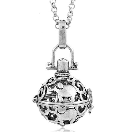 Cage à bola ronde et éléphants en métal argenté 33x23mm