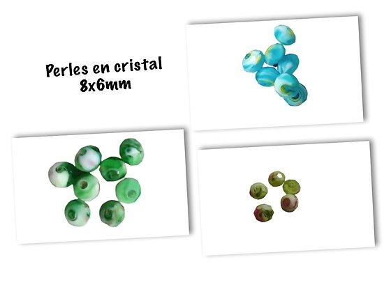 5 perles à facettes en cristal de de Bohème marbré 8x6mm