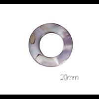 2 perles anneaux ronds en nacre gris foncé 20mm