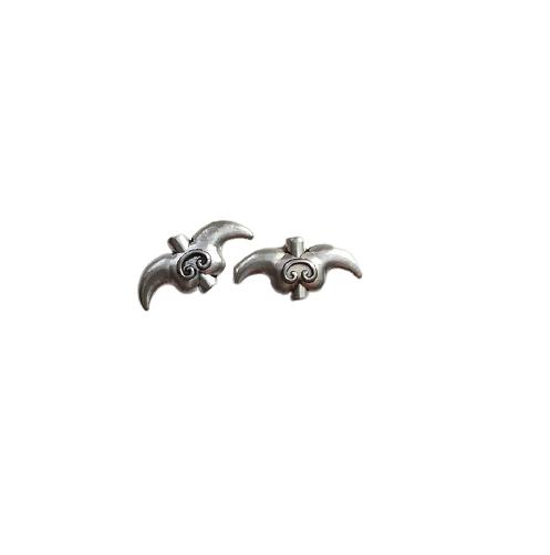 2 perles corne en métal argenté 20x10mm