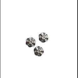 2 perles fleur plate ronde texturées en métal argenté 10mm