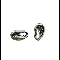 3 perles connecteurs cauris en métal argenté 19x12mm