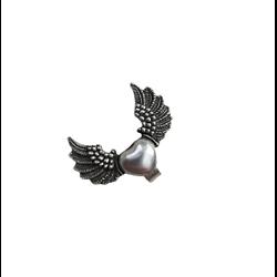 Perle passant coeur ailé en métal argenté 35x27mm