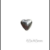 Grande perle coeur cabossé en métal argenté 14,5x13,5mm