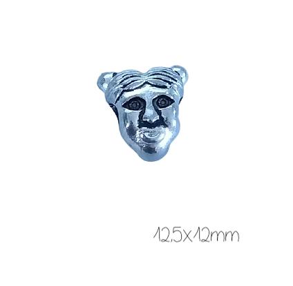 2 perles visage à gros trou en métal argenté massif 12,5x12mm
