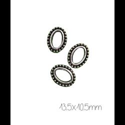 5 perles ovales en métal argenté 13,5x10,5mm