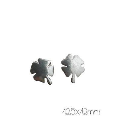 3 perles trèfle à 4 feuilles en métal argenté 12,5x12mm