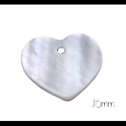 2 breloques coeur en nacre blanche 15mm