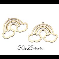 Breloque nuages et arc-en-ciel en laiton doré 30x25mm