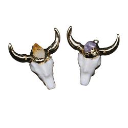 Tête de zébu / ox - crâne en résine imitation os, serti doré et pierre fine 46x47,5mm