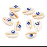 Perle / breloque / connecteur cauris et oeil de la chance bleu +/-10x20mm