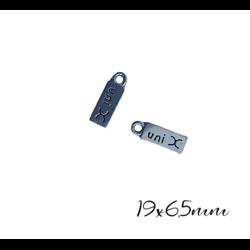 """4 breloque étiquette """"uni X"""" en métal argenté 19x6,5mm"""