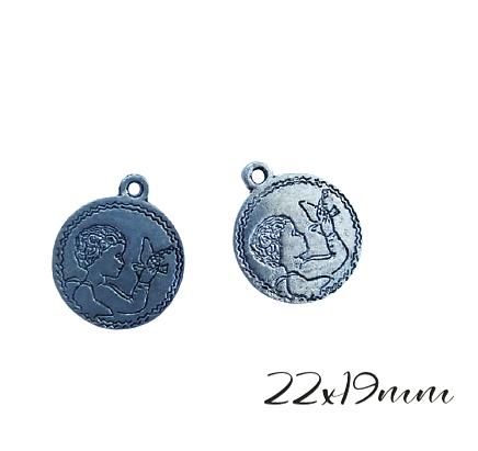3 breloques médaillon rond communiant à la colombe en métal argenté 22x19mm