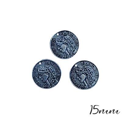 3 breloques pièce de monnaie en métal argenté 15mm