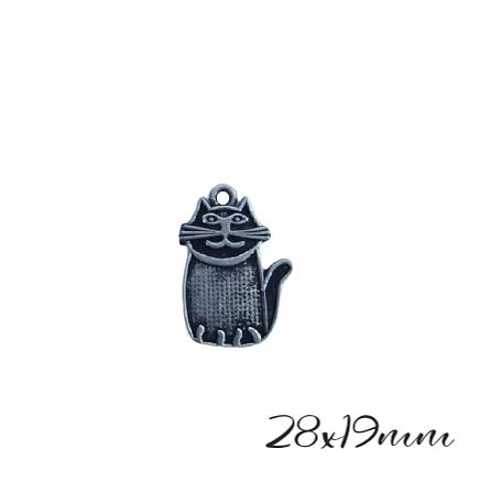 2 breloques gros chat en métal argenté 28x19mm