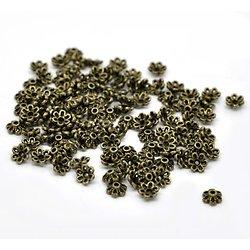 25 coupelles fleurs en métal couleur bronze 6mm