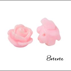 2 petites perles fleur en résine rose clair clair pour bijoux 8mm