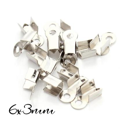 25 serre-fils en métal argenté 6x3mm