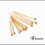20 tiges /clous fins à boule en métal doré 40mm