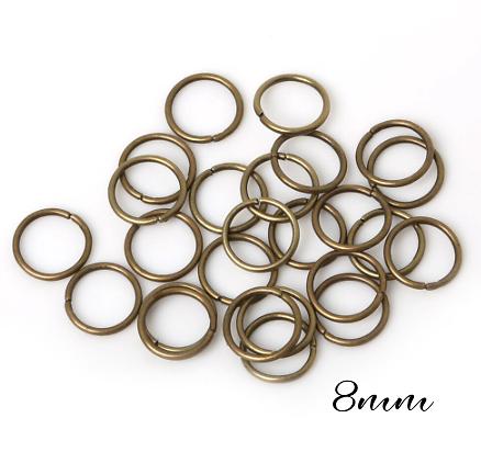 25 anneaux ouverts en métal couleur bronze 8mm