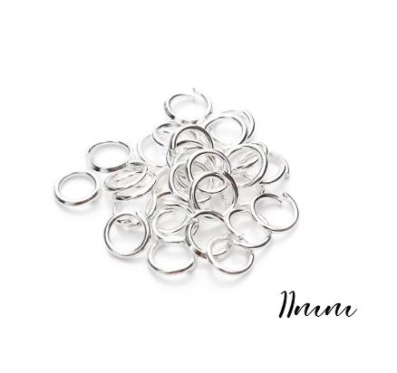 20 anneaux en métal argenté 11mm