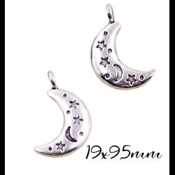 3 breloques / pendentifs lune avec gravures étoiles en métal argenté massif 19x9,5mm