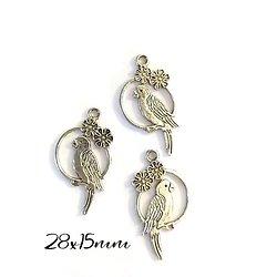 3 breloques perroquet fleuri en métal argenté 28x15mm