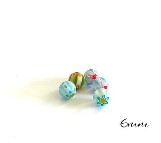 5 perles rondes millefiori en verre 6mm