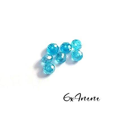 10 perles à facettes bleu turquoise en cristal de Bohème 6x4mm